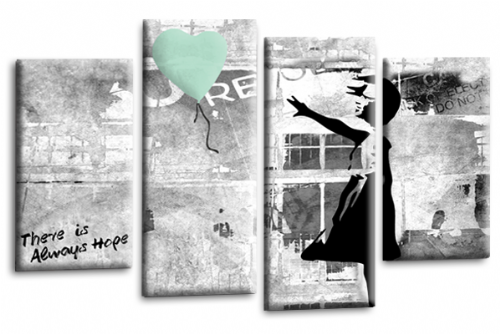 Banksy Wall Art Picture Love Duck Egg White Grey Balloon Print